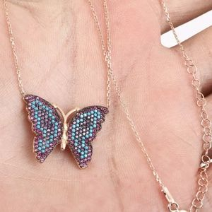 Turquoise ruby & amethyst gold butterfly necklace